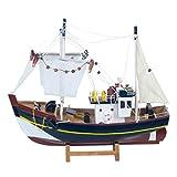 Vidal Regalos Figura Decorativa Barco Pesquero Adorno Maqueta Miniatura Pesca 32 cm