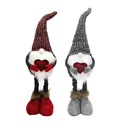 Gnomo Natalizio Set di 2, Bambola Gnomo Nordica Senza Volto Rossa e Grigia, Figurine di Gnomo in Feltro Natalizio Ornamenti Decorazioni per Mensole da Tavolo