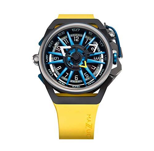 Mazzucato Orologio da uomo reversibile automatico e cronografo con cinturino in gomma Fkm Giallo GT 06-yl654