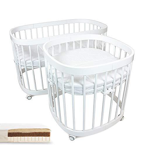 tweeto Cuna de bebé 7 en 1 – Multifuncional, ampliable, incluye 2 colchones de látex Kokos Mini + Maxi (blanco)