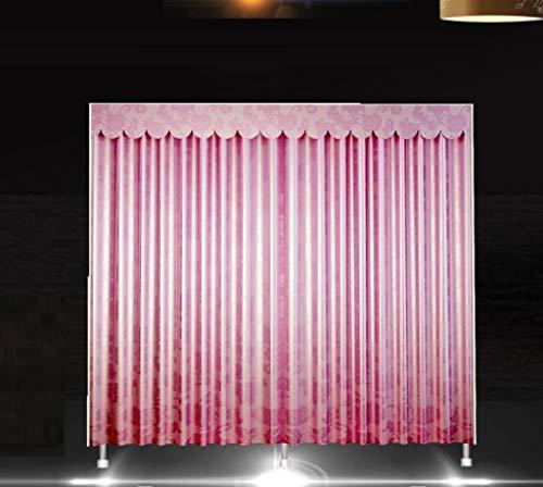 AYUANCHUN Eenvoudige garderobe - Gordijn garderobe, Lite dikke dubbele opbergkast, Stof stalen frame opknoping garderobe, kast organizer systemen, armoire, 65inx 67.7inx 17.7in