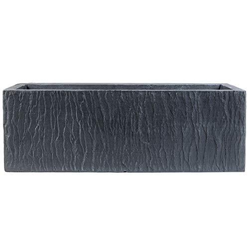 Köhko® Designer-Pflanztrog Rock aus Magnesiumoxid (MgO) 80 x 31 x 30 cm | Pflanzkübel in Schieferoptik 61002-80