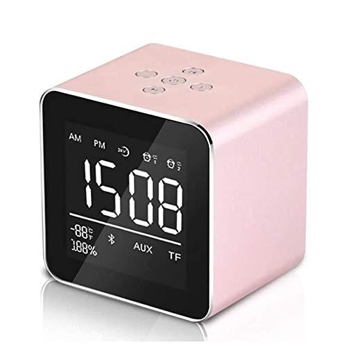 HLJK Mini Metalen Subwoofer, Draadloze Bluetooth Speaker Alarm Klokken met Spiegel Snooze En 2 Sets van Alarm Klok 10H Speeltijd voor Indoor Outdoor Etc