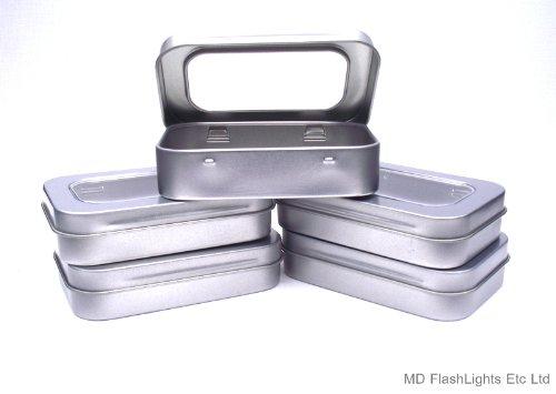 MD FlashLights Etc Ltd Juego de 5 latas de Almacenamiento con bisagras Plateadas con...