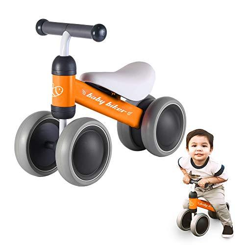 Baby Balance Bike, Foldable Bike with Comfortable Baby Bike Seat, Boys and Girls Bike for Indoors and Outdoors, Orange - Ashtonbee