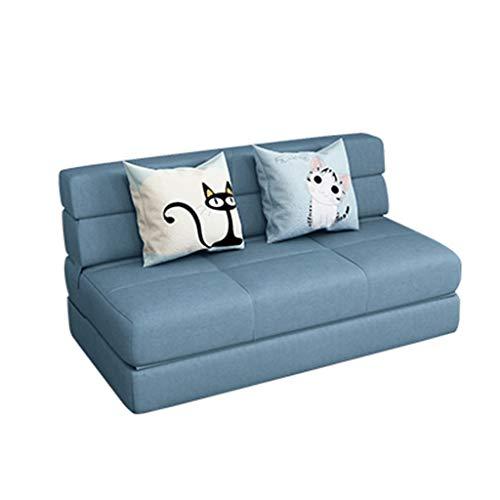 NO BRAND Sofá Cama Plegable, Doble Tela Multi-Funcional sofá Perezosa, Conveniente for el Sitio Tatami de Estar Apartamento Pequeño 103-S (Color : Light Blue, Size : 120cm)