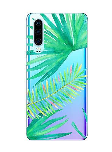 Oihxse Funda Compatible con Huawei Honor V10 Lite/8X, Carcasa Transparente Silicona TPU Suave Protector de Golpes Ultra-Delgado Cristal Cover Anti-Choque Anti-Arañazos Bumper-Hojas 6