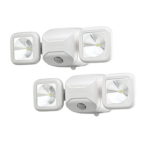 Mr. Beams MB3000 High Performance Wireless Battery Powered Motion Sensing Led Dual Head Security Spotlight, 500 Lumens, White, 2 Pack