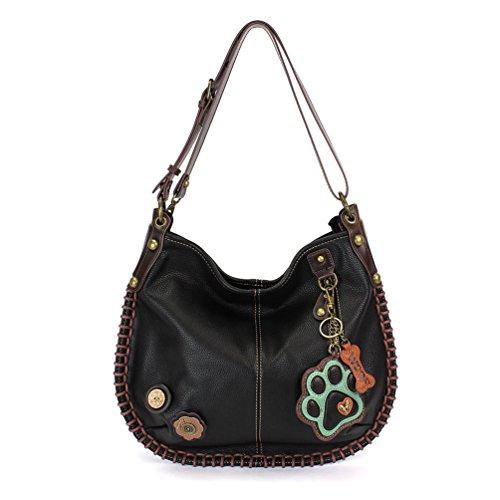 CHALA Crossbody Handbag, Hobo Style, Casual, Soft, Large Bag Shoulder or Crossbody - Pawprint - Teal