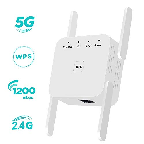 WiFi Extender Signal Booster for Home, Covers Up to 2400 Sq.ft, 1200Mbps WiFi Repeater 2.4 & 5GHz Dual Band with WPS and Ethernet Port, Wall Plug WiFi Range Extender 4 Antenna