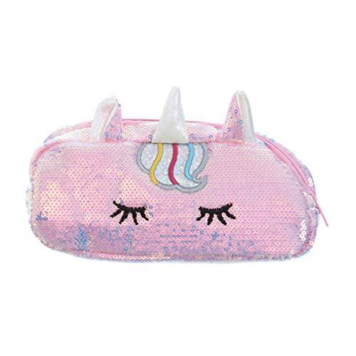 TENDYCOCO Sequin Unicorn Handbag Purse for Women Girls Funny Sequin Pen Storage Bag Women Pouch Coin Purse School Office Supplies - Pink