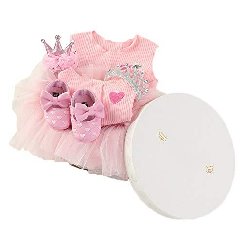 JUNBABY Boîte-Cadeau pour Bébé, Cas Actuel De Robe De Princesse pour Nouveau-Né, Style élégant Baby Girl-PinkA-L