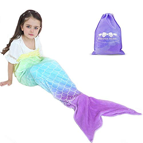 RIBANDS HOME Cozy Mermaid Tail Blanket for Kids and Teens Soft Flannel Fleece Wrapping Cover with Colorful Fish Scale Tail – All Seasons Plush Sleeping and Napping Coverlet (Ages 3-16)