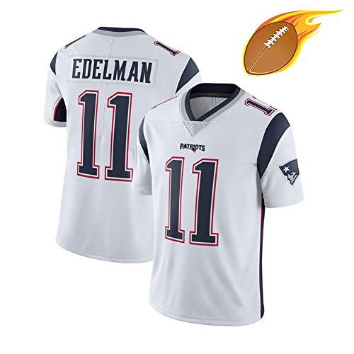 Julian Edelman 11# Rugby-Trikot für Männer-New England Patrioten, Jugend-American-Football-Training Freizeit-T-Shirt, schweißableitend schnell trocknend S-3XL-White-XXL