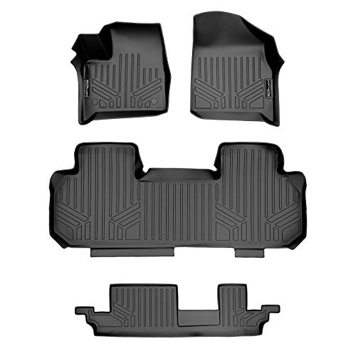 MAXLINER All Weather Custom Fit 3 Row Black Floor Mat Liner Set Compatible With 2018-2021 Chevrolet Traverse (Only fits with 2nd row bench seat)