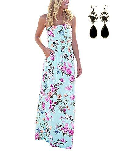 carinacoco Damen Bandeau Bustier Kleider mit Blüte Drucken Lange Sommerkleid Abendkleid Partykleid Cocktailkleid Blau A-Geblümt01