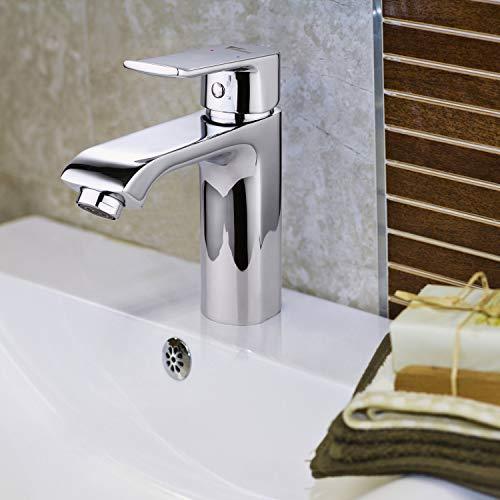 Amzdeal Waschtischarmatur / Waschbecken Armatur / Mischbatterie Bad / Badezimmer Wasserhahn mit Keramikkartusche / Einhebel Waschtisch Armatur aus Messing, chrom