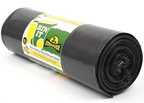 BIN IT Ultra Heavy Duty Müllsäcke 120 Liter | Schwarze Müllbeutel | 80 kg Geprüft | 1 Rolle mit 10 XL Abfallsäcken 60 μm 80 x 100 cm | Perfekt für Garten, Haushalt, Büro, Küche, DIY & Mehr