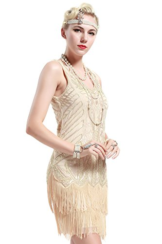 BABEYOND Años 20 Estilo Vintaje Vestido con Cuello en V Gatsby Disfraz Vestido con Flecos de Lentejuelas (Beige, M)