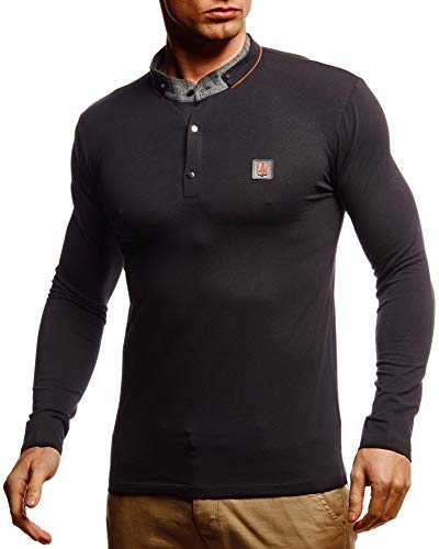 Leif Nelson Herren Langarmshirt Basic Pullover Stehkragen Slim Fit Longsleeve Rundkragen Männer Pulli Sweatshirt Langarm LN55140 Größe S Schwarz