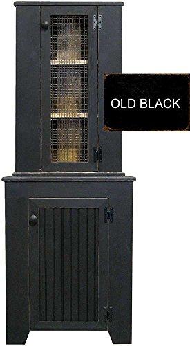 Sawdust City Corner Jelly Cupboard & Hutch Set (Old Black)