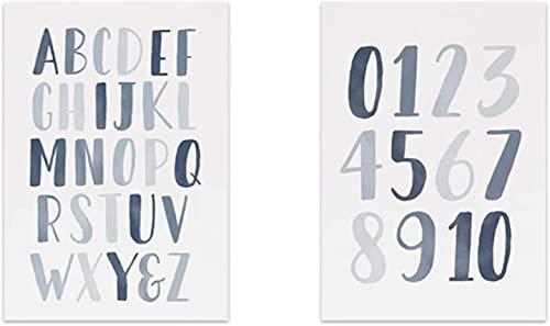 Lesign Muro Art,Animal Números de alfabeto Pósteres E Pósters e Impresiones Habitación para niños Imagen de lienzo ABC Poster Arte educativo Decoración de la habitación Ningún marco