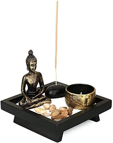 YLJYJ Lotus Tea Light Candle Holder,Sitting Buddha Ornament Zen Resin Incense Stick Burner Holder,Zen Statue for Home D&eacut(best gifts)