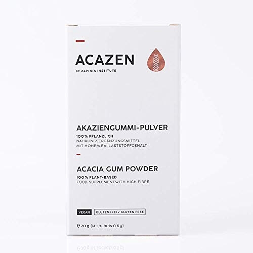 ACAZEN Acacia Gum Powder - 70g (14 Sachets of 5g) – Food Supplement with high Fibre- 100% Plant-Based – Manufactured in Germany – Vegan, Gluten-Free, Natural