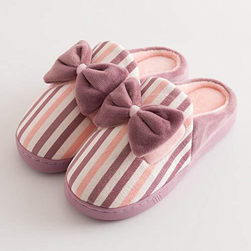 Gemütliche Antibakteriell Hausschuhe ,Damen beugen Streifen Haupthefterzufuhren,nette weiche untere Hausinnenschuhe der Wintermädchen,rutschfeste postpartale Sorgfalt shoes-purple_3.5 / 4.5UK des Bo