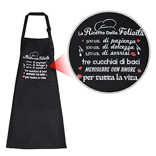 MEJOSER 1 Pezzo Grembiule da Cucina Maestra Cuoco con Tasche Regolabile Donna Uomo per Casa Ristoranti Bistrò Barbecue Mense La Ricetta della Felicità (B)