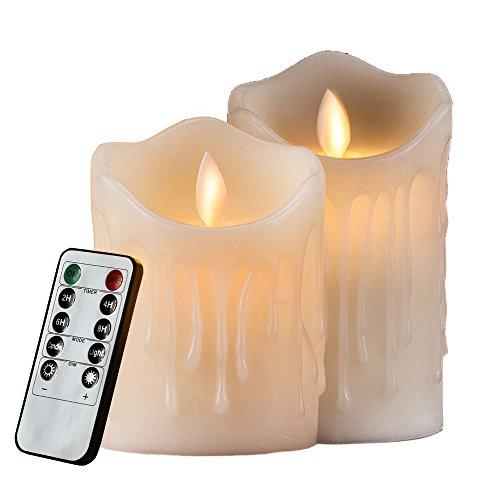 HiChili 2er Set Flammenlose LED Kerzen Echtwachskerze mit beweglicher Flamme Timerfunktion mit Fernbedienung Elektrische Batteriebetriebene Kerze Lampe Schlafzimmer Wohnzimmer Deko
