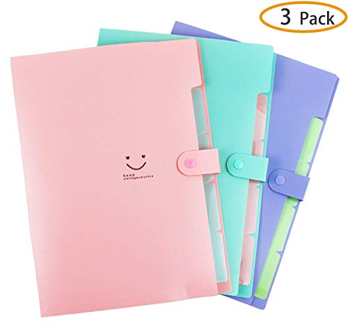 Plastic Expanding File Folders Accordion Document Organizer A4 Letter Size with Snap Closure for School and Office,Pink,Green,Violet 3-Pack