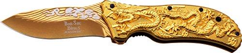 DARK SIDE BLADES Taschenmesser DS-A042 Serie, Messer DRACHEN ALU Griff GOLD II, Outdoormesser 8,76 cm ROSTFREI Klinge, kompakt 118gr Klappmesser