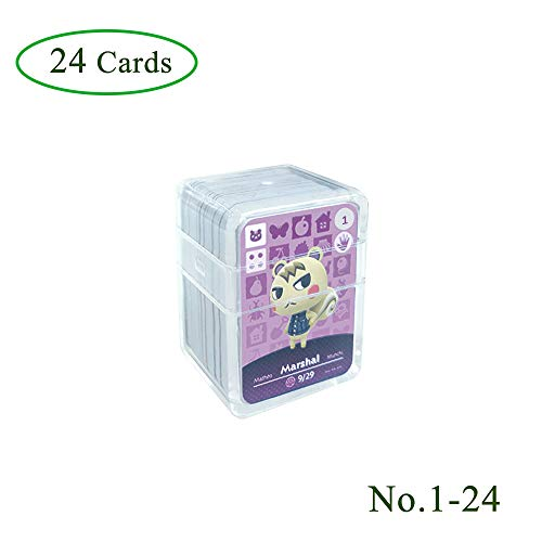 NFC Etikett Spielkarten Tag Game Cards für Animal Crossing, 24Stk(No. 1-No. 24). Botw Karten Cards mit Kristall Hülle kompatibel mit Nintendo Switch / Wii U
