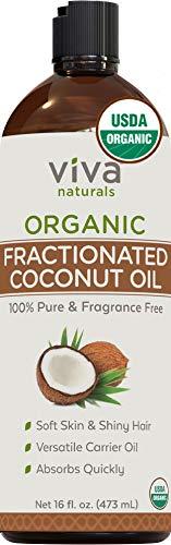 Viva Naturals, Organic Fractional Coconut Oil,Non-Greasy & Fragrance-Free for Hair, Skin And Versatile Carrier Oil - 16 fl oz.