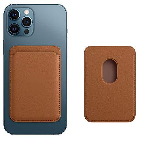 Cartera de Piel con MagSafe para el iPhone 12 Mini/Pro/Max,Tarjetero RFID con imán MagSafe, 2 Tarjetas Como Máximo(Marrón caramelo)