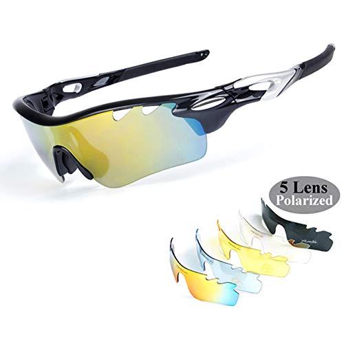 Gepolariseerde fietsbril, sportbril, heren, anti-condens, UV400, met 5 verwisselbare glazen voor fietsen, baseball, vissen, skiën, hardlopen