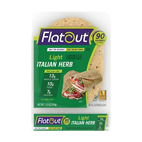 FlatOut Wraps, Light Italian Herb (2 Packs of 6 Flatbreads)