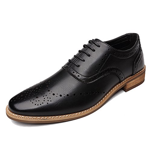OUOUVALLEY Men's Oxford Modern Classic Brogue Wing-Tip Lace Up Leather Lined Perforated Dress Oxfords Shoes (10 D(M) US=EU 44, Black)