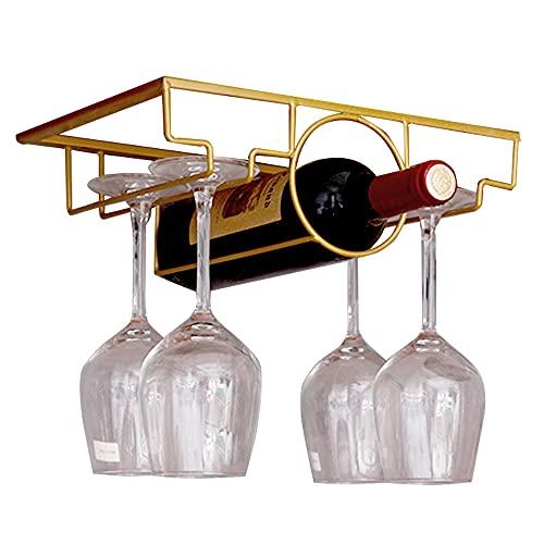 Supporto Calice,Calici Sottopensile,Rastrelliera Parete Bicchieri,Porta Bicchiere Vino Appeso,per Home Bar Calice Da Vino Rosso e Bianco Espositore Per Bicchieri Da Vino(Oro)