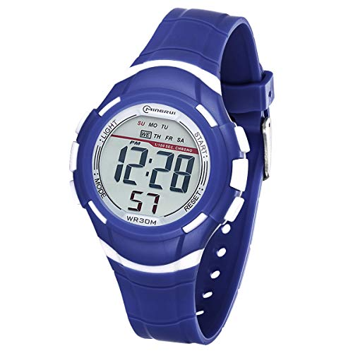 Reloj Digital Deportivo para Niños, Reloj de Pulsera Niña Multifunción con Pantalla LED Impermeable 30M para Niños, Niñas Reloj Infantil Aprendizaje para Niños 4-15 Años (Azul Oscuro)
