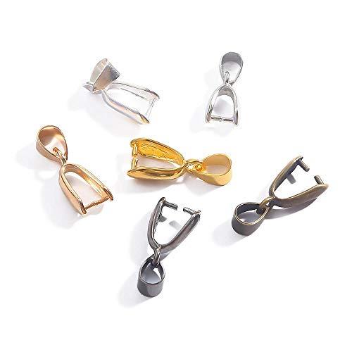YANGYANG 50Pcs/Lot Melon Seeds Buckle Pendants Clasps Hook Clips Bails Connectors Copper Charm Bail Beads For Diy Jewelry Making Supplies-Black,L