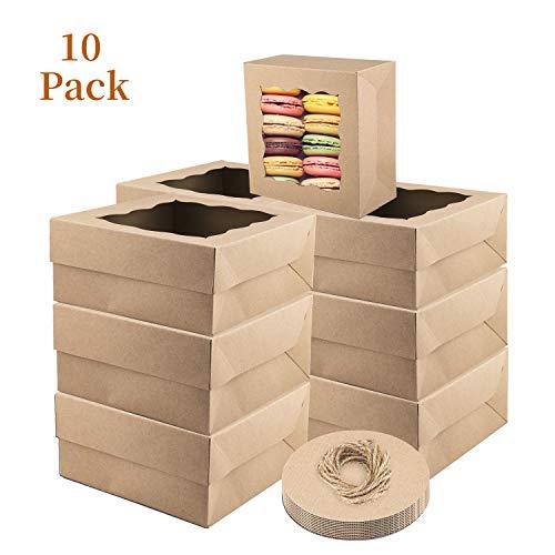 LOMOFI 10 Piezas Caja para Tartas,10 * 10 * 5 Inch Cajas de Papel Kraft para Tartas,Cajas Pastelería con Ventana,Caja de Pastel para Fiesta, Boda