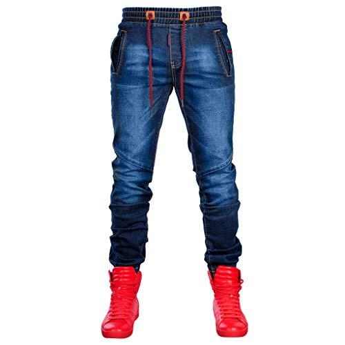 VPASS Pantalones Vaqueros para Hombre,Pantalones Casuales Moda Deportivos Running Pants Skinny Elásticos Pantalon Fitness Jeans Largos Pantalones Ropa de Hombre
