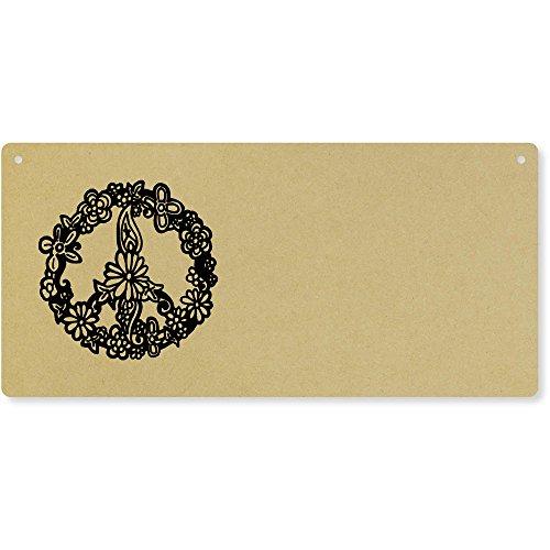 Azeeda 'Floral Peace Symbol' Large Wooden Wall Plaque/Door Sign (DP00011131)