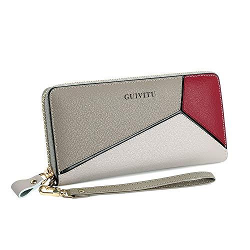 GUIVITU Fashion Portafoglio Donna in Pelle Vera borsa lunga portamonete e porta carte RFID con 13 scomparti per carte di credito Multicolor Purse Ideale Regali per Donna (Rosa)