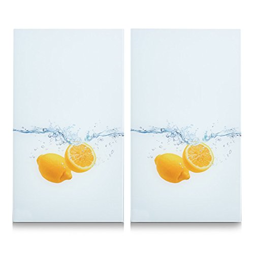 Zeller 26304 - Tabla para cortar de cristal, salpicadura de limón, 52 x 30 cm, 2 unidades