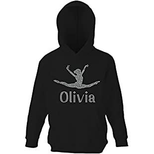 Black 9-11 Girl's Crystallized Personalised Gymnastics Hoodie Dance Leotard Childrens Hoody(K) By Varsany