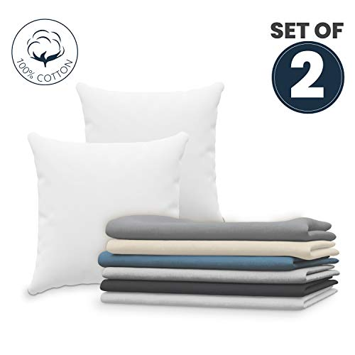 Dreamzie Set mit 2X Kissenbezüge 80x80 cm Weiß Baumwolle 100% Jersey Baumwolle - Kissenhülle 2er Pack 80x80 - Bettwäsche Doppelbett Kissenbezug - Kissen Schoner - Resistent und Hypoallergen