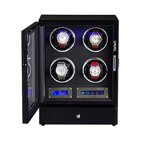 NBVCX Inicio Accesorios Relojes Devanadera automática para Mirar 4 bobinadoras Pantalla Digital LCD Iluminación LED Caja de Reloj 5 Modos de rotación con cajón